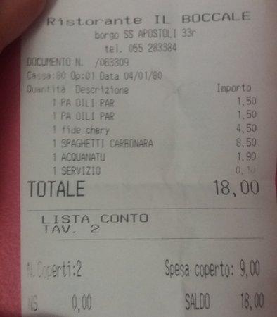 """Il Boccale: ticket de nuestra cena. El 1,50€ es el """"pan"""" supuestamente."""
