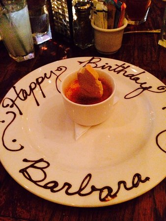 Awesome Amaretto Creme Brulee at Rick's Chophouse; complimentary for the birthday girl!