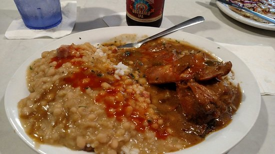 Gretna, LA: Cafe 615 awesome Creole comfort food white beans & rice with smothered rabbit. Best turtle soup