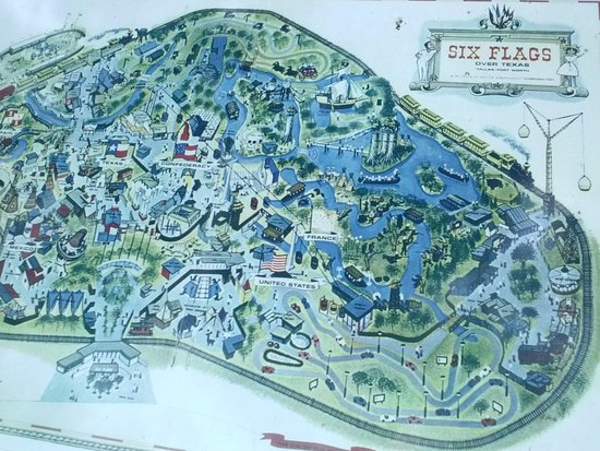 Six Flags Over Texas Map Six flags over Texas original map with confederacy land included