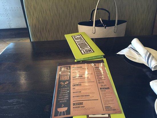 Seekonk, MA: Menu on Table with unique cloth napkins