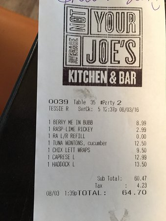 Not Your Average Joe's: Lunch Bill for 2, gives you an idea