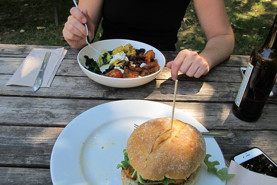 Brackendale, Canadá: Veggie bowl and chicken burger. I ate the salad before thinking of taking a photo.