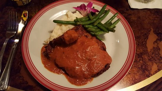 Huckleberry's: Chicken Romano. A fried chicken cutlet topped with a blush cream sauce.