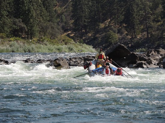 McCall, ID: Nice dive into a hole. That is me in the back of the raft, enjoying the ride!