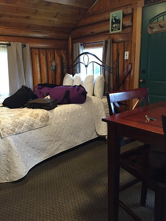 Moose Creek Cabins and Inn: Bed in main room