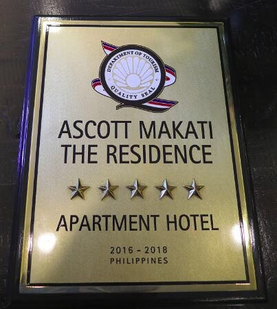 Ascott Makati 5 Star Quality of Seal from PH Department of Tourism