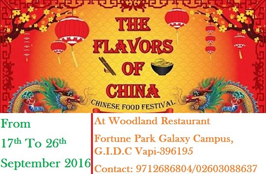 Vapi, India: CHINESE FOOD FESTIVAL FROM 17TH TO 26TH SEPTEMBER 2016