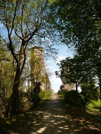 Montfort-l'Amaury, Fransa: Aperçu de la tour en haut du chemin ombragé