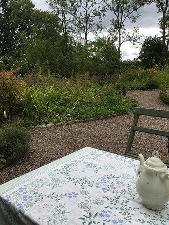 Perstorp, สวีเดน: Utsikt över trädgården , mycket fina blommor och gott fika. Gäss o höns spatserar på gården.