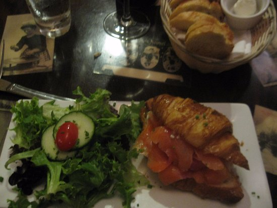 Paris 66: croissant with salmon and salad