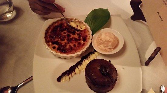 Le Chateau: Chocolate volcano cake, caramel ice cream, and vanilla bean creme brulee - wow!