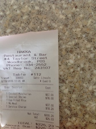Hakka Restaurant and Bar: The bill showing fraudulent charges