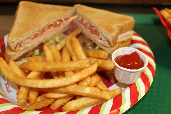 Lawrence, MA: Turkey Club Sandwich served w/fries
