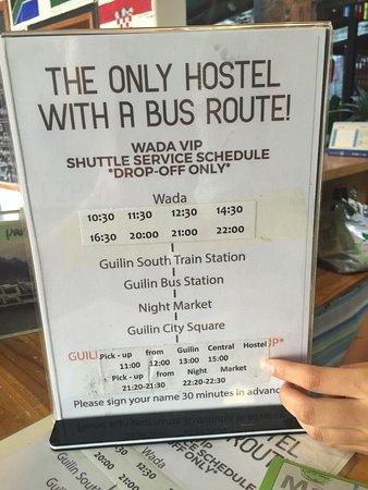 Wada Hostel: Shuttle-Zeiten