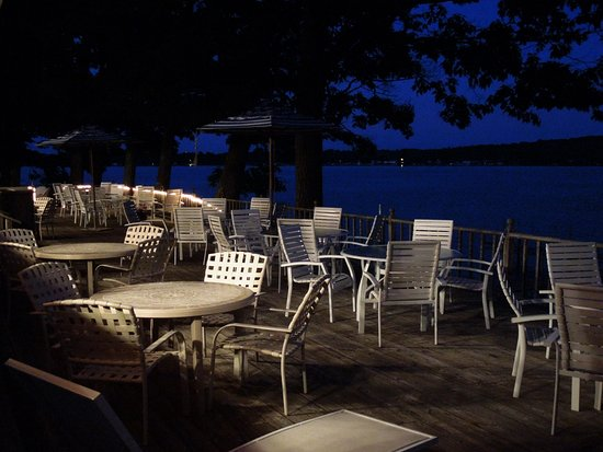 Outside Dining overlooking Hubbard lake