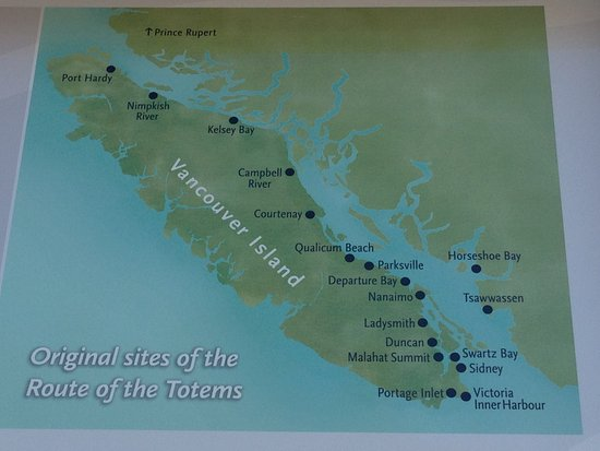 Duncan, Canada: Locations of totem pole sites photo taken from poster on site