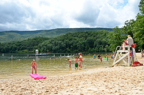 Clifton Forge, VA: the swimming beach - with clouds, always cloudy and rains alot