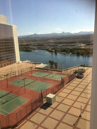 Aquarius Casino Resort: View of the Colorado River from my room window.