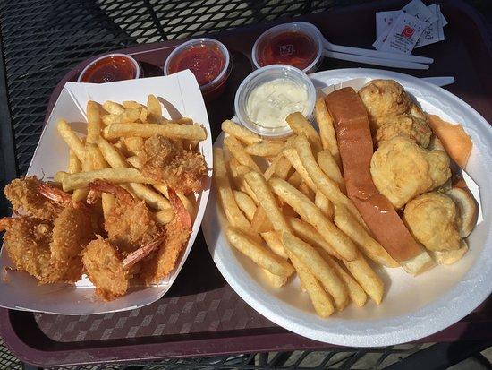 Littleton, NH: Coconut Shrimp Basket and Scallop Roll