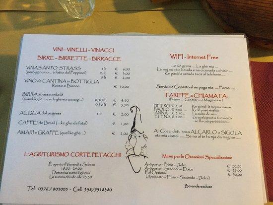 Volta Mantovana, Italy: Menù vini