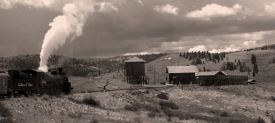 Cumbres & Toltec Scenic Railroad: Cumbres & Toltec Narrow Gauge Railroad approaching Osier, Colorado for lunch, Aug 2016.