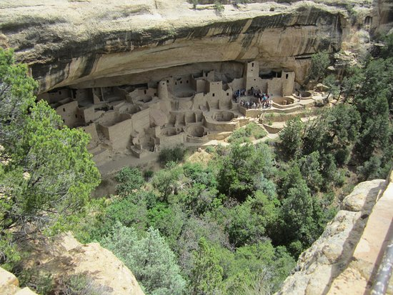 Mancos, CO: View of ancient cliff dwellings from viewing platform
