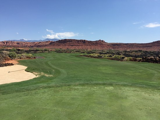 St. George, UT: On the back nine; wide fairways in a lava rock field