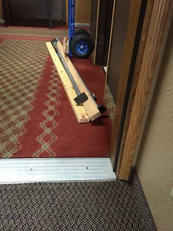 Super 8 Baker City: This partially blocked our door. Also, beds & tables lined the hallway on our last day.