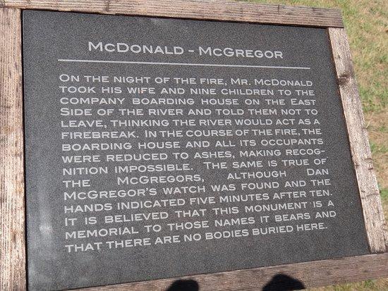 Peshtigo Fire Museum: McDonald McGregor family informational marker