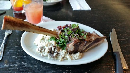 Exeter, NH: A wonderful dinner of Veal Chops with Mushroom Rossoto and a Cranberry & Walnut glaze/dressing.