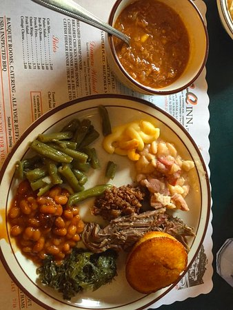 Owensboro, KY: Buffet feast w mutton, chopped beef, and sides.