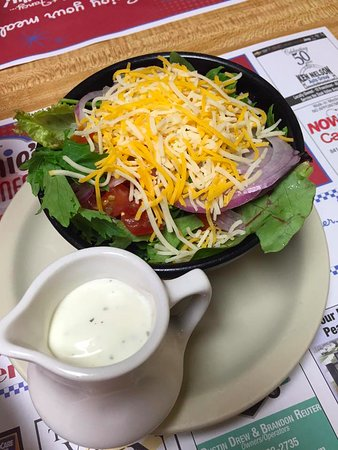 Dixon, IL: Side salad (whoa, lots of cheese!)