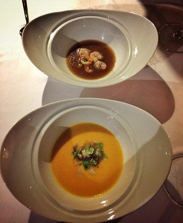 Macher, Hiszpania: sopa acidulada de gamba de la Santa, citronela y hinojo, mas eu sou allergic então foi diferente