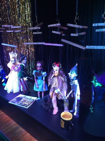 """Lancaster Marionette Theatre : Bob makes all puppets himself -- here's the """"cast"""" of Wizard of Oz."""