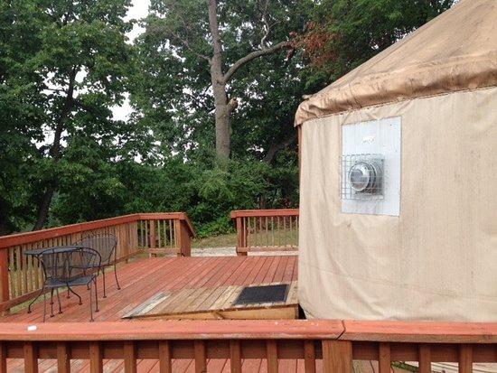 Chelsea, MI: Green Lake Yurt - Back Deck
