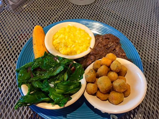 Ramsey's Diner : Pot roast, grits, spinach, and fried okra.