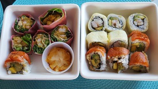 Zen Japanese Restaurant: Marine roll, popcorn shrimp roll and avocado roll - thumbs up!!