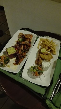 Habarana Village by Cinnamon: Room Service Food. Fish & Chips and Iranian Jumbo Size Prawns