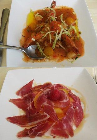 Beaugency, France : Deux entrées (8/2016) : gaspacho (en haut, menu à 29) et melon jambon (menu à 24).