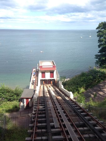 View of the beach at the top of the cliff railway