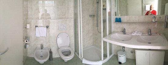 Bissone, สวิตเซอร์แลนด์: Aussicht Top. Badezimmer Top. Zimmer sehr geräumig