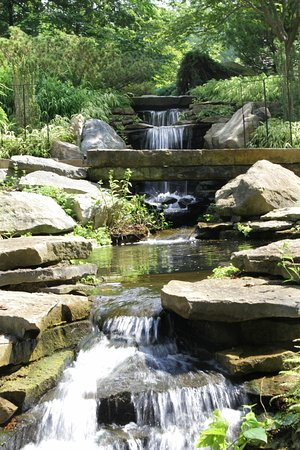 Westerville, Οχάιο: A rock garden scene from Inniswood Metro Park in Columbus, Ohio. Some people were throwing penni