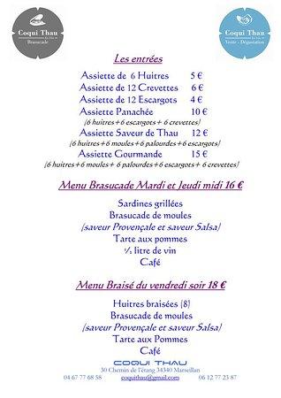 CoquiThau : Carte et menu Coqui Thau