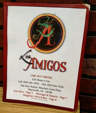 Los Amigos Restaurante: Front cover of menu
