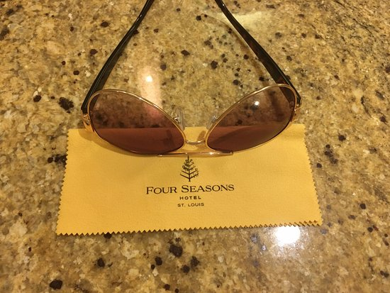 Four Seasons Hotel St. Louis: I left my sunglasses on the bathroom counter one day...came back to find this perk! Logo cloth!