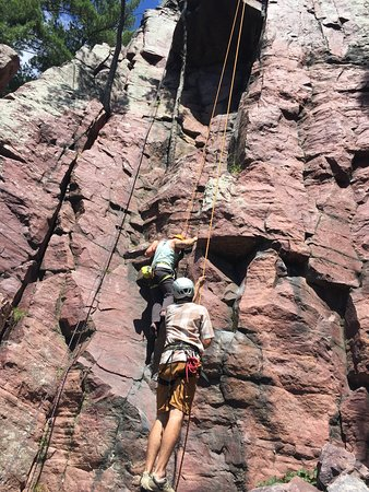Devils Lake Climbing Guides : Climbing with our guide Kevin!