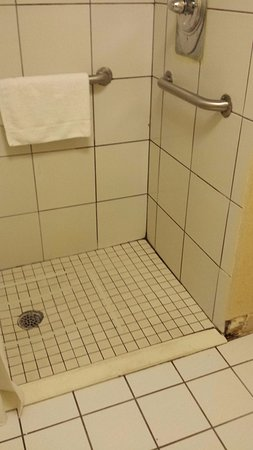 Ramada Asheville / Biltmore West: Dirty Shower, black mold in grout, and tiles missing.