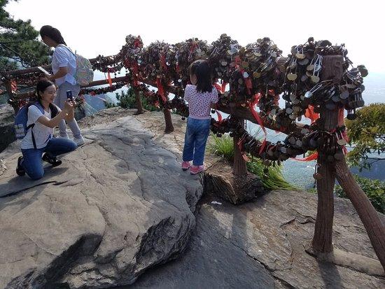Jiujiang, Cina: padlocks on the railing. Nobody could tell me the significance. So maybe a copy of the Paris bri