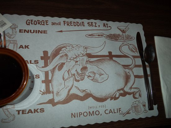 Nipomo, CA: Placemat is entertaining.